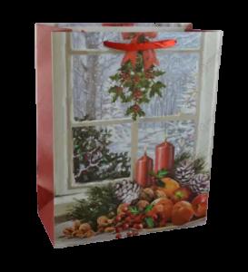 Punga pentru cadouri mare – Design cu peisaj de iarna