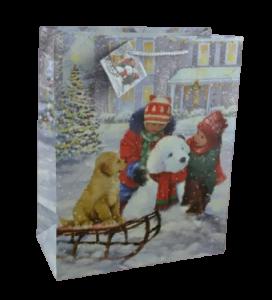 Punga pentru cadouri – Design cu copii in zapada si catelus pe sanie