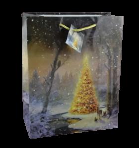 Punga pentru cadouri – Design cu brad impodobit si zapada