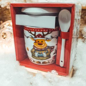 Set cana de ceramica cu lingurita si capac model Ren multicolor 300 ml0
