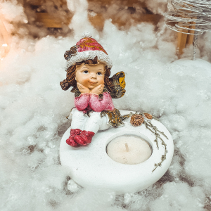 Suport realizat din ceramica pentru lumanare tip pastila – Design Craciun cu copil [0]