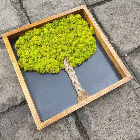 Tablou de Perete Tree din Licheni si Lemn1