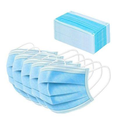 Sset de 50 buc masti unica folosinta cu 3 pliuri si 3 straturi, elastic, Albastru 2
