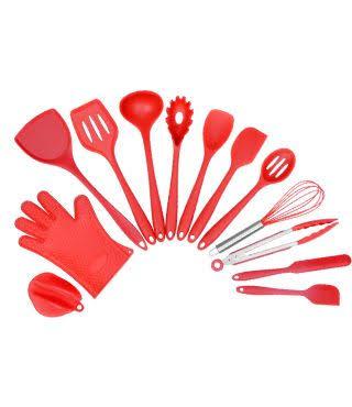 Set de 13 ustensile de gătit din silicon, Mrk Prestige, rezistente la căldura, rosu 0