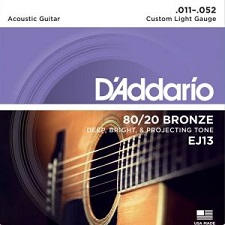 Set corzi chitara acustica D'Addario EJ13 80/20 Bronze Custom Light  0
