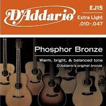 Set corzi chitara acustica D'addario Phosphor Bronze - EJ15 0