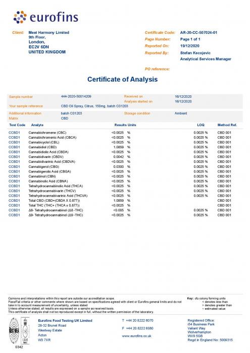 Harmony Spray Aroma de Citrice cu 1% CBD 150mg (15ml) [1]