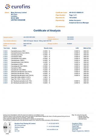 Harmony Selfcare Drops Aromă Naturală 0,33% CBD - 30ml [1]