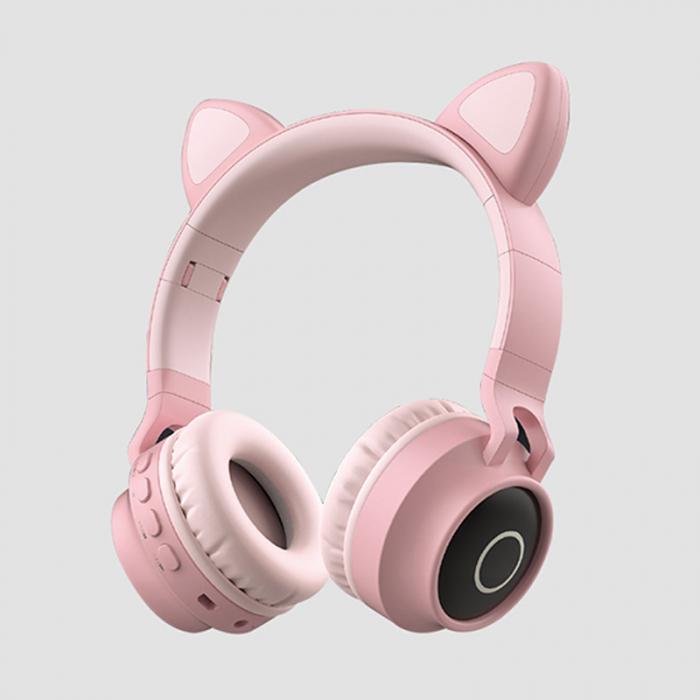 Casti Audio pentru copii Surround Bluetooth 5.0, cu urechiuse, Roz 0