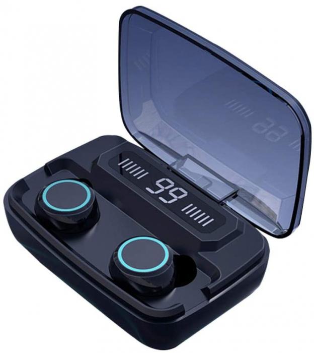 Casti Telefon cu Bluetooth Tinderala M11 cu microfon, Wireless Fara fir, PowerBank 2000 mA, Rezistente la apa, Microfon Incoporat, Compatibilitate Universal, Negru/Metal Black 0
