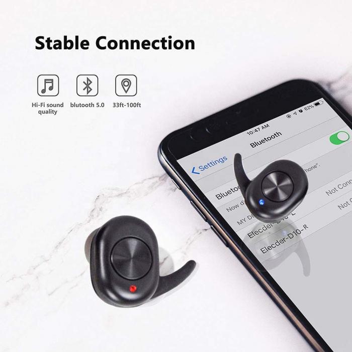 Casti Telefon cu Bluetooth Tinderala J3S cu microfon, Wireless Fara fir, PowerBank 250 mA, Rezistente la apa IPX4, Microfon Incoporat, Compatibilitate Universal, Negru 2