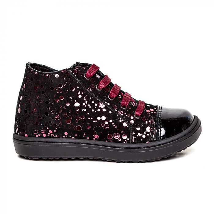 Pantofi primii pasi din piele Rocky Negru Bordo 1