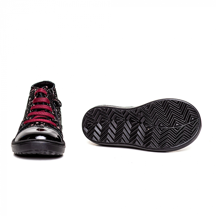 Pantofi primii pasi din piele Rocky Negru Bordo 3