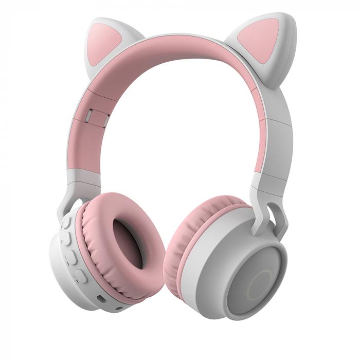 Casti Audio pentru copii Surround Bluetooth 5.0, cu urechiuse, Gri/Roz 0