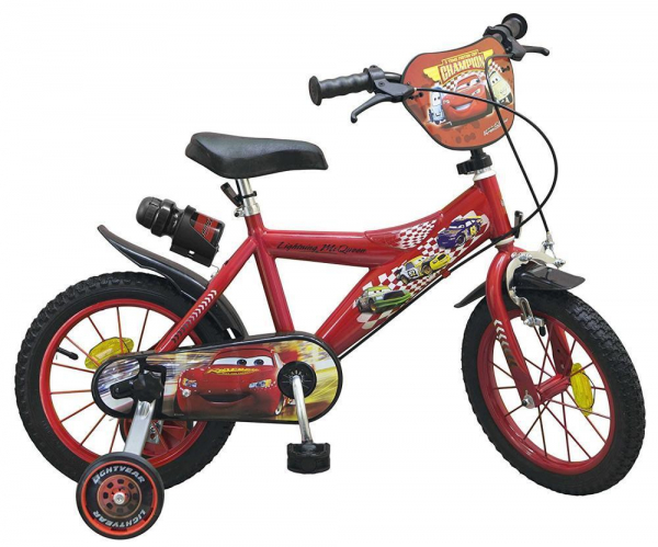 bicicleta roti ajutatoare copii baieti toimsa disney cars lighting mcqueen 14 inch 4 5 6 ani 0