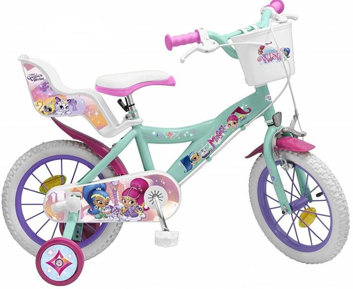 Bicicleta roti ajutatoare copii fete baieti Toimsa Disney shimmer shine 14 inch 4 5 6 ani 0