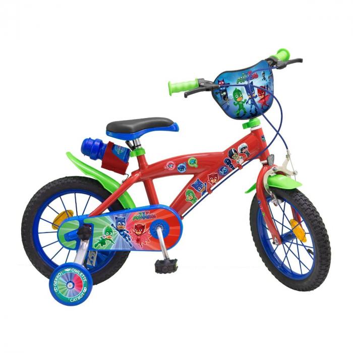 Bicicleta roti ajutatoare copii fete baieti Toimsa Disney Pj Masks 14 inch 4 5 6 ani 0