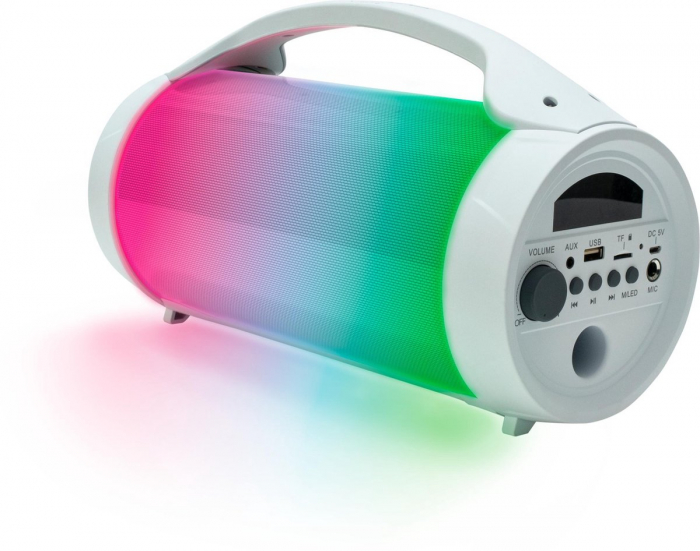 Boxa portabila luminoasa cu microfon Party BT Pro, BigBen, alb, 75W 0