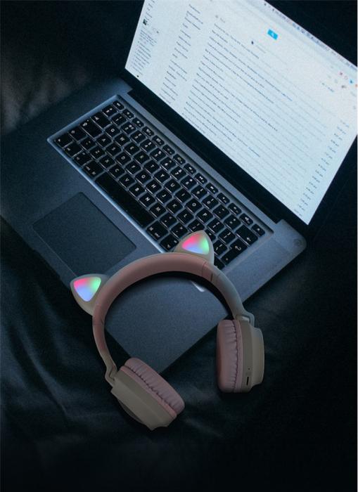 Casti Audio pentru copii Surround Bluetooth 5.0, cu urechiuse, Gri/Roz 1