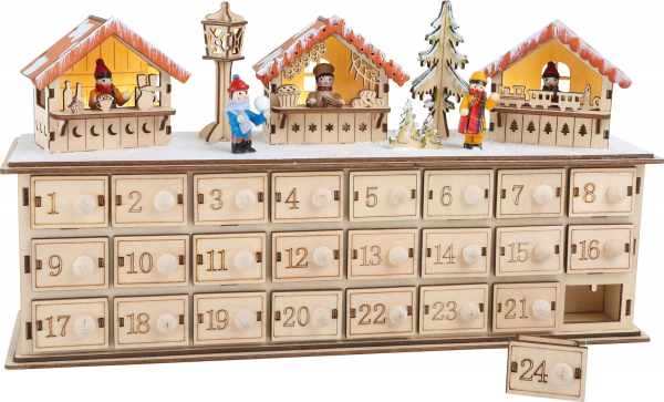 DECOR CRACIUN CALENDAR ADVENT CHRISTMAS MARKET 40 CM 0