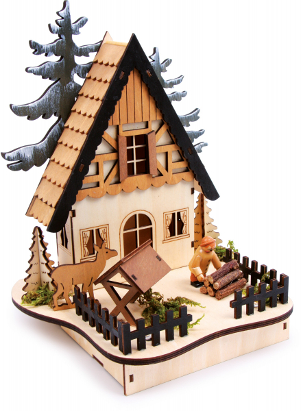 DECOR LUMINOS DIN LEMN FOREST HUT 25 CM 0