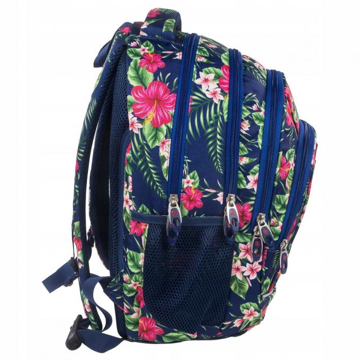 ghiozdane-scoala-copii-back-up-baieti-fete-42-cm-casti-cadou-tropical-flower 2