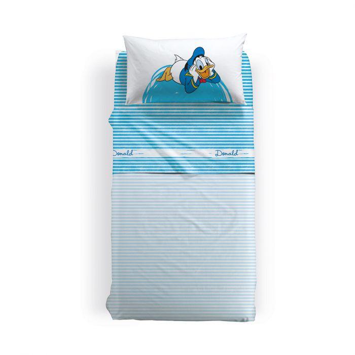 Lenjerie pat Donald Duck 155x280 cm, alb 0