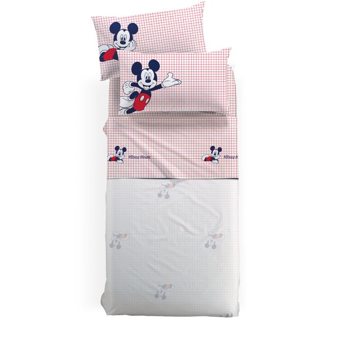 Lenjerie pat Mickey Topolino matlasata, 160x280 cm, alb 0