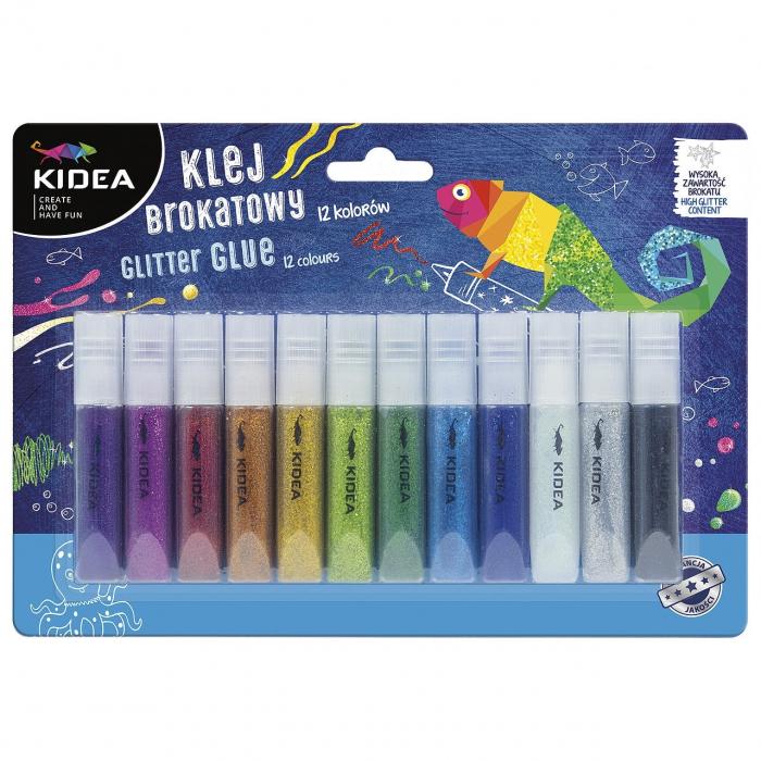 Lipici colorat cu glitter, 12 culori, Kidea [0]