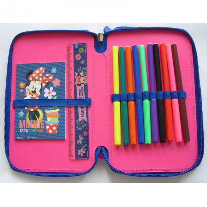 Penar scoala, echipat, dublu(2 compartimente), Fete, Minnie Mouse 1