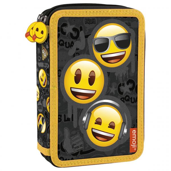 Penar scoala, neechipat, dublu (2 compartamente), Emoji, Smile Face 0
