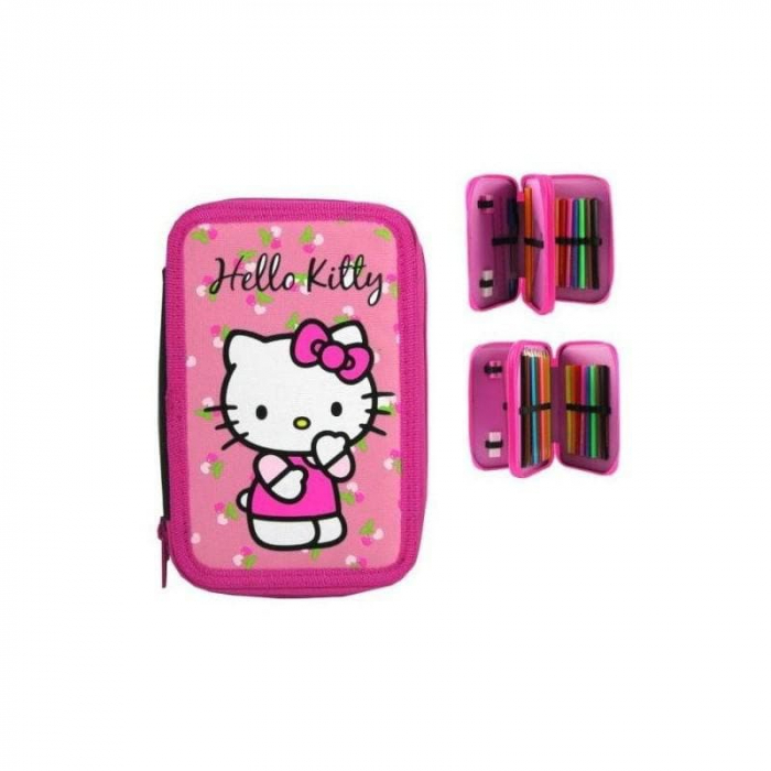 Penar scoala, echipat, dublu(2 compartimente), Fete, Hello Kitty [1]