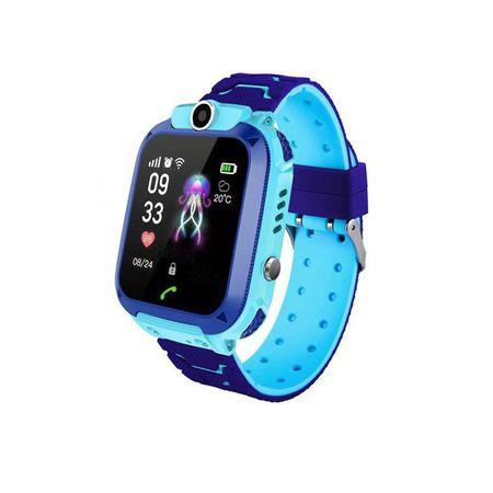 Ceas smartwatch copii GPS Q12, rezistent la apa, telefon, touchscreen, foto, monitorizare spion, buton SOS, albastru 1