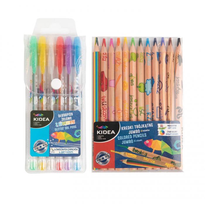 Set 6 pixuri colorate cu gel si 12 creioane jumbo, Kidea [0]