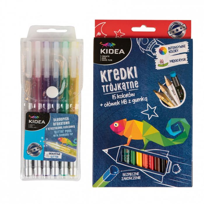 Set 6 pixuri cu gel si 15 creioane colorate+creion HB, Kidea 1