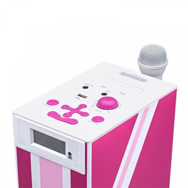 Sistem karaoke copii Buetooth cu microfon, Pink London, 2x10 W, 70 cm, Bigben 2