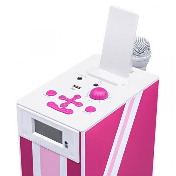 Sistem karaoke copii Buetooth cu microfon, Pink London, 2x10 W, 70 cm, Bigben 1