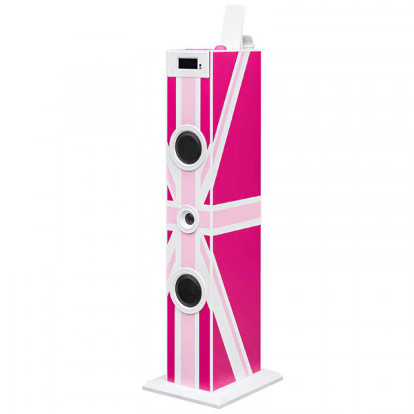 Sistem karaoke copii Buetooth cu microfon, Pink London, 2x10 W, 70 cm, Bigben 0