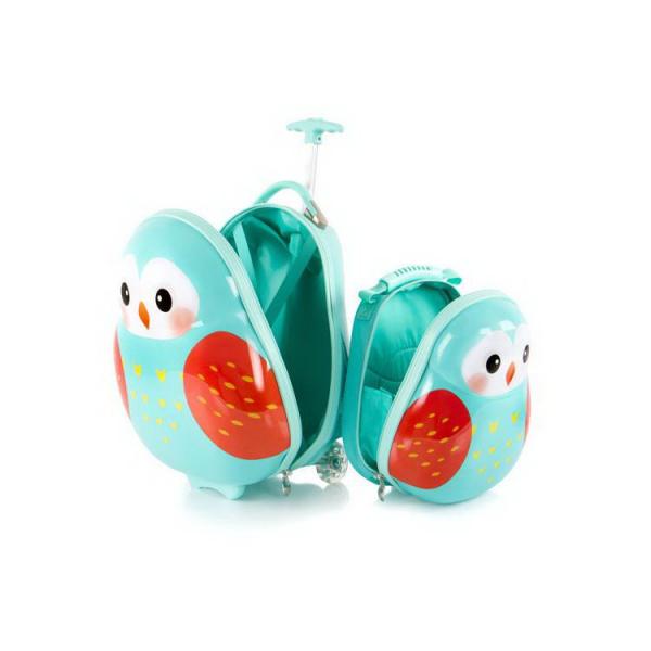 Set-troler-vacanta-ABS-Copii-si-Ghiozdan-Owl-46-cm-Heys 1