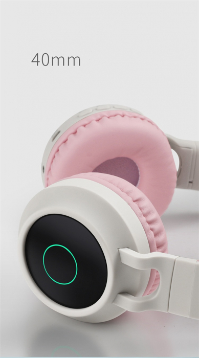 Casti Audio pentru copii Surround Bluetooth 5.0, cu urechiuse, Roz 1