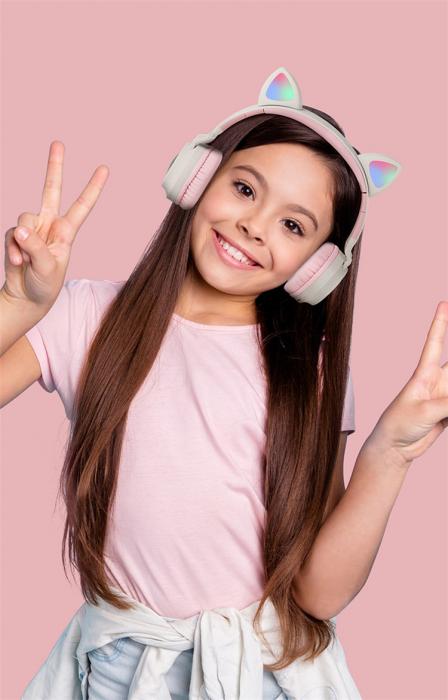 Casti Audio pentru copii Surround Bluetooth 5.0, cu urechiuse, Gri/Roz 3