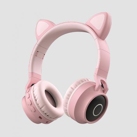 Casti Audio pentru copii Surround Bluetooth 5.0, cu urechiuse, Roz0