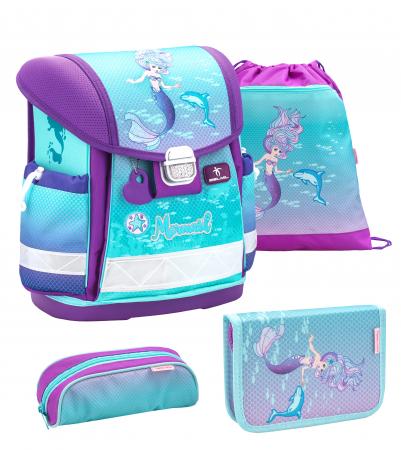 """Set """"Purple Mermaid"""" Ghiozdan Echipat, 2 Penare, Sac Sport scoala0"""