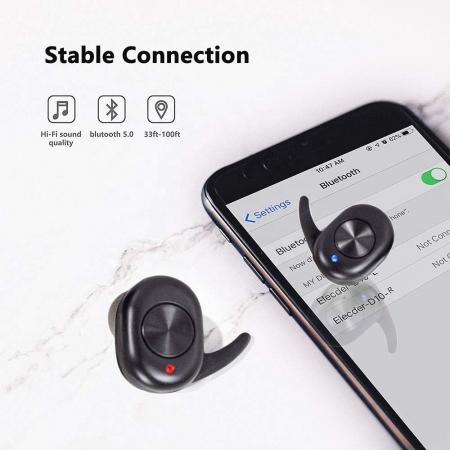 Casti Telefon cu Bluetooth Tinderala J3S cu microfon, Wireless Fara fir, PowerBank 250 mA, Rezistente la apa IPX4, Microfon Incoporat, Compatibilitate Universal, Negru2