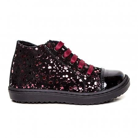 Pantofi primii pasi din piele Rocky Negru Bordo1