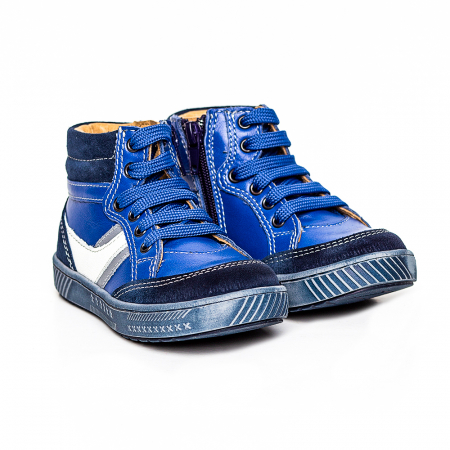 Pantofi primii pasi din piele Kid blu1