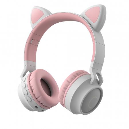 Casti Audio pentru copii Surround Bluetooth 5.0, cu urechiuse, Gri/Roz0