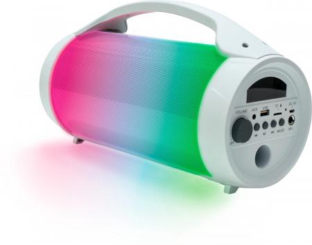 Boxa portabila luminoasa cu microfon Party BT Pro, BigBen, alb, 75W0