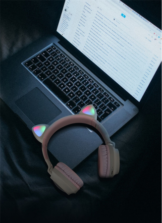 Casti Audio pentru copii Surround Bluetooth 5.0, cu urechiuse, Gri/Roz1