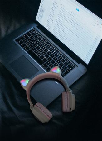 Casti Audio pentru copii Surround Bluetooth 5.0, cu urechiuse, Roz3